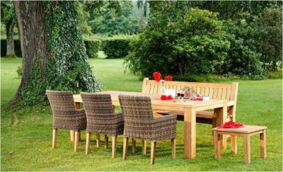 Table de Jardin Bois de Teck Naturel Rectangle \
