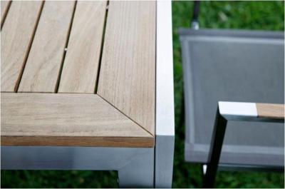 Table d\'Extérieur/Jardin Carrée Teck et Inox \