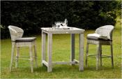 "Table Haute de Bar Jardin Carrée Teck Blanchi ""HIGH-90"