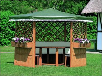 Gloriette de Jardin Hexagonale Bois Traité Teinté Miel \