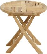 "Petite Table d'Appoint Ronde Rabattable Teck Naturel ""TENNESSEE"