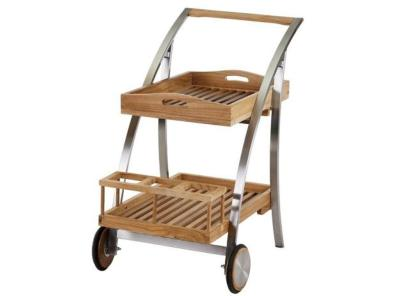 "Bar Roulant Trolley Pliant en Teck et Inox Brossé "" LITTLE BOY"